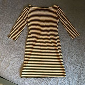 Striped boatneck dress with elbow-length sleeves